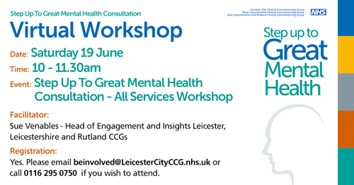 Step up to Great Mental Health – online public workshop this weekend