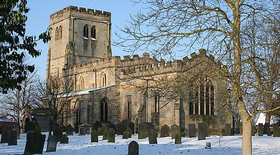A picture or Plumtree Church in the snow