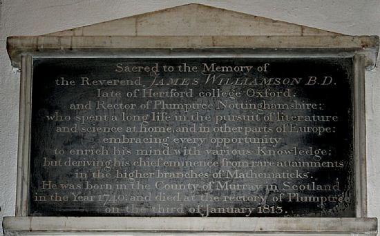 The monument to Revd James Williamson