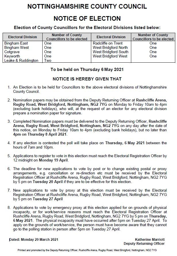 2021 Nottinghamshire County Council notice of election