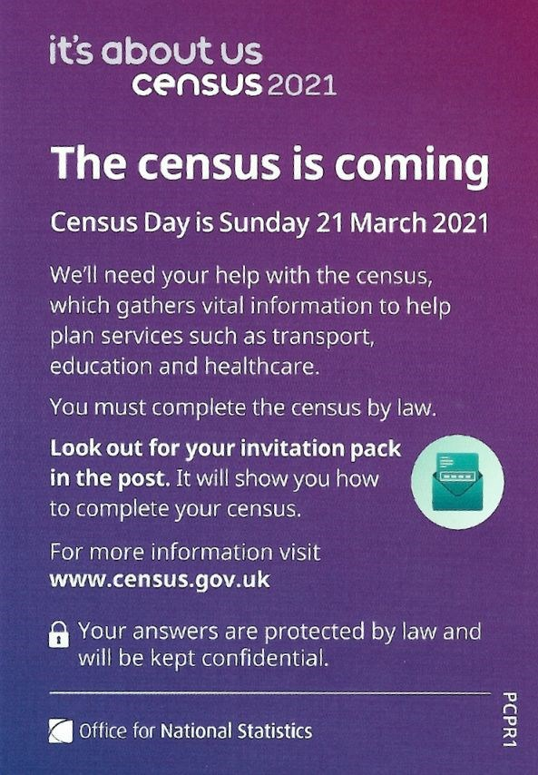Leaflet about Census Day - 21 March 2021