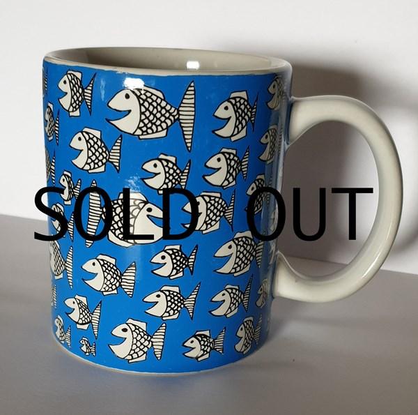 Happy fish style hand drawn mug