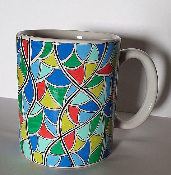 'Shapes' hand drawn mug