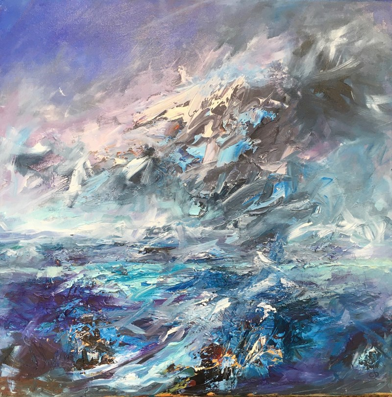 A seascape with dramatic clouds