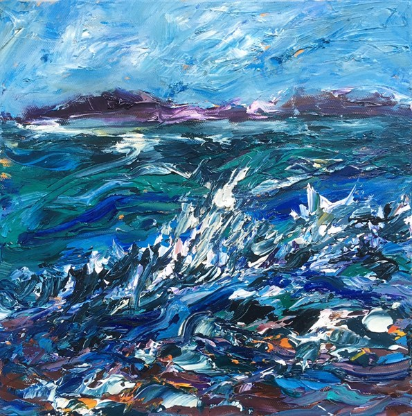 Wave Break on Rocks 43x43cm, Holroyd Gallery