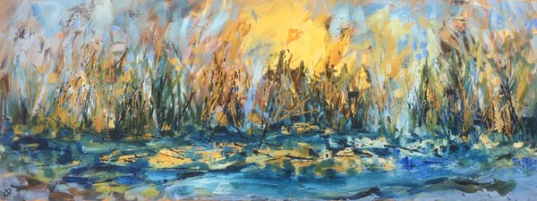Winter River Bank 85x35cm, available