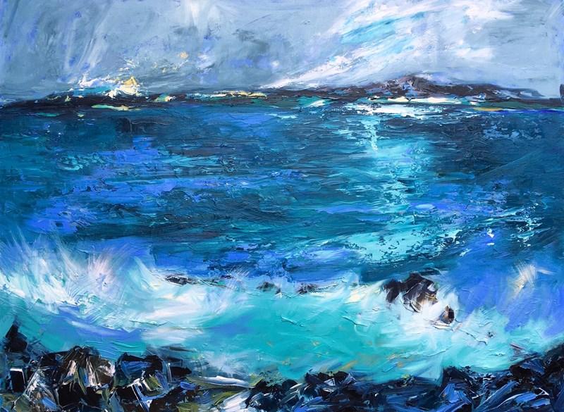 Green Seas 123x91cm, unframed deep canvas, Hatton House, Dunkelld