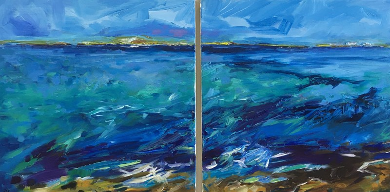 In the Morning (diptych) 84x47cm, Hatton House Gallery, Dunkeld