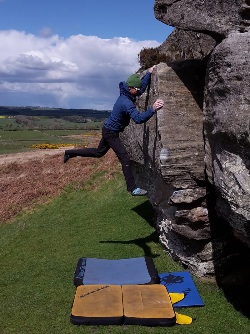 Using the DMM Highball whilst bouldering at Shaftoe in Northumberland