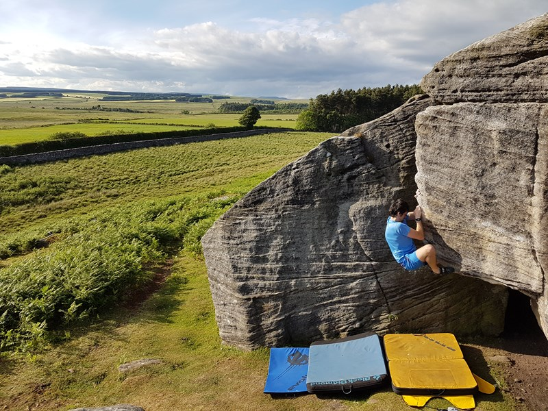 Using the DMM Highball whilst bouldering at Rothley in Northumberland