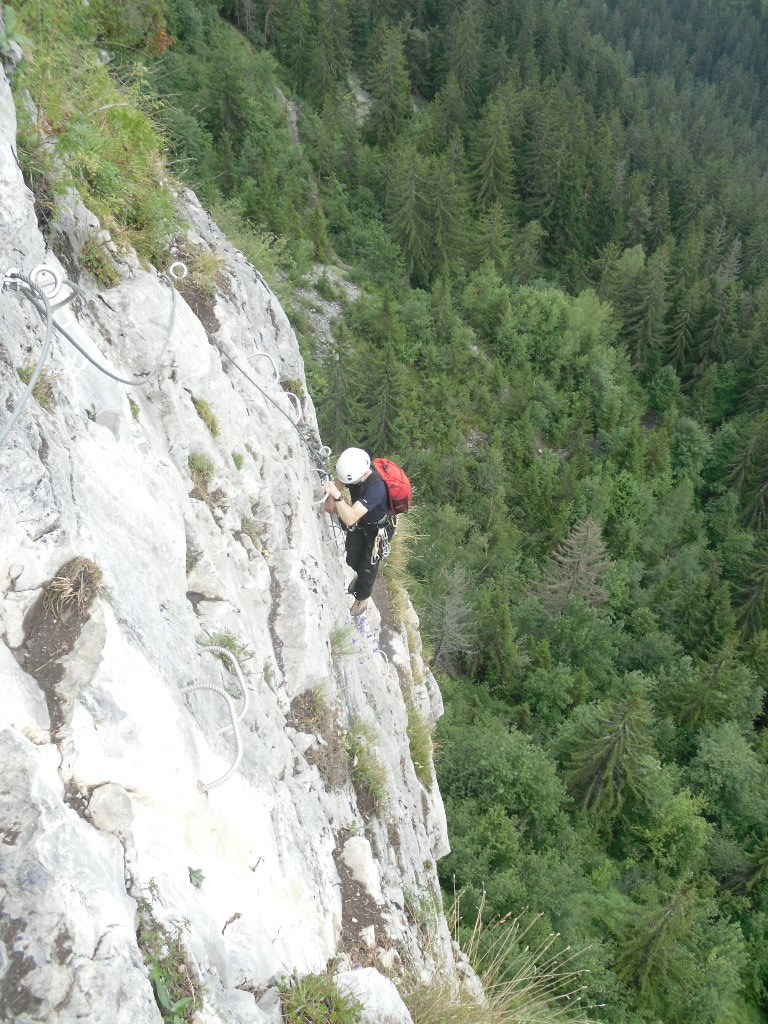 Using the Alpkit Gourdon 20 on a via ferrata in the Alps