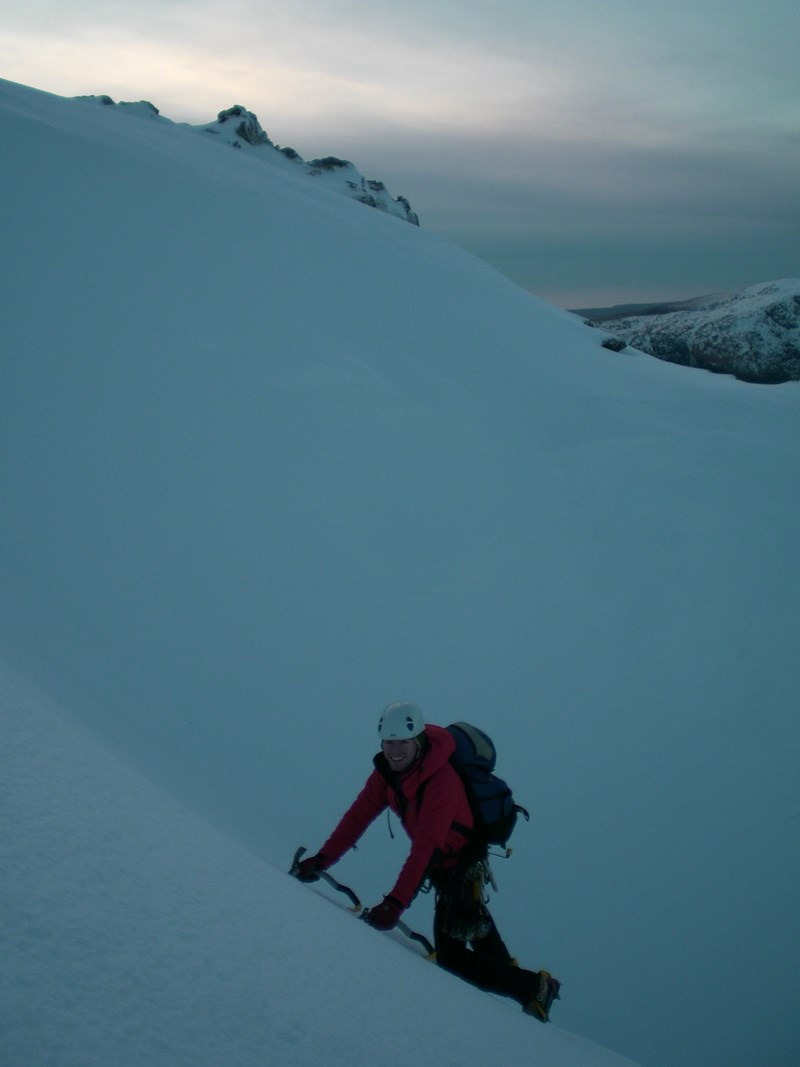 Wearing the Montane Extreme Jacket whilst desending Cust's Gully