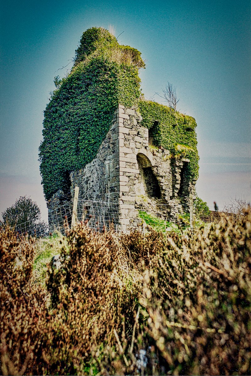 Ivy-clad tower house with fence at base (low viewpoint)