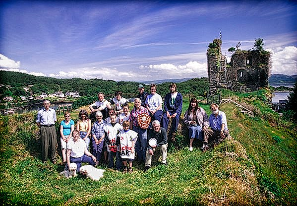 Group photo on castle outer bailey
