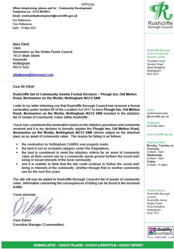 Letter from Rushcliffe BC confirming the Plough has been made a Community Asset