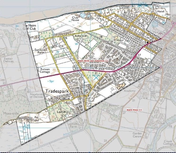 ordinance survey type map of Nairn West & Suburban Council boundaries