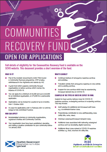 Communities Recovery Fund Open for Applications